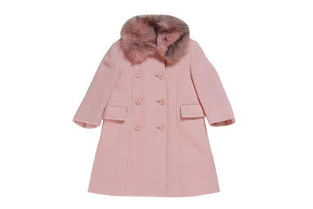 double breasted: Ni�o s abrigo rosa con pieles