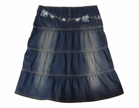 bell bottomed: Blue denim skirt with embroidery