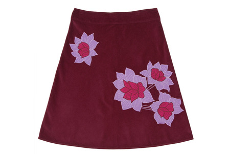 velours: vinous flared skirt with embroidery