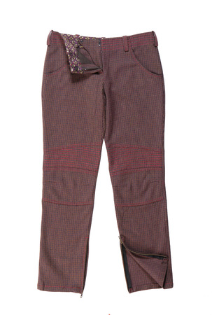 jeanswear: checkered woolen trousers Stock Photo