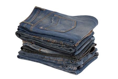 jeanswear: heap of blue jeans