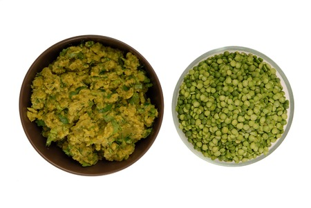 sodden: raw green pea and pea puree
