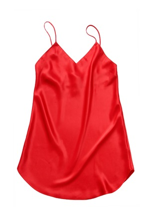 chemise: It is a red silk chemise