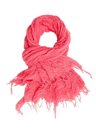 It is a pink scarf with fringe  photo