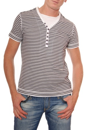 gentleman s: striped t-shirt and jeans are on man