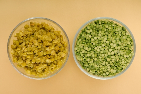 pap: raw green pea and pea puree