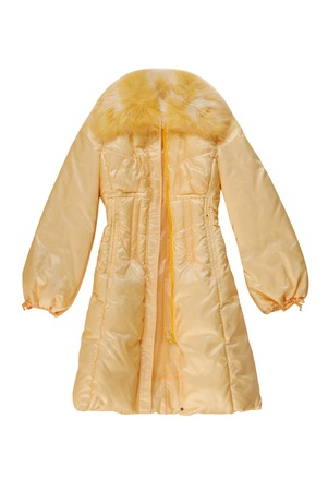 bell bottomed: yellow padded coat with zip fastener