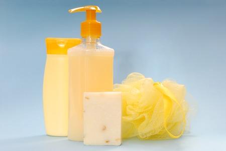 bast whisp,  shampoo, almonds soap and shower gel