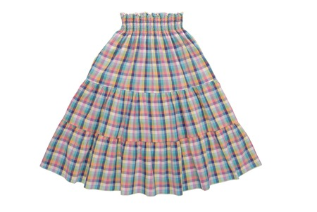 checkered flared skirt with elastic belt photo