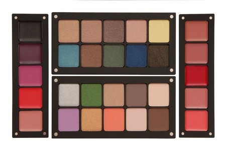 grease paint: palettes of lipstick, rouge, and eye shadow Stock Photo