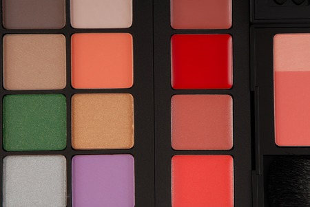 grease paint: palette of cosmetic  Stock Photo