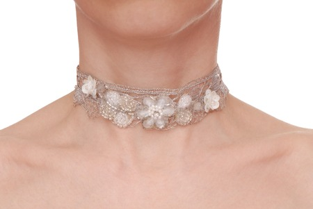 guipure: guipure necklace is on woman
