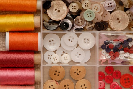 reels of thread and buttons photo