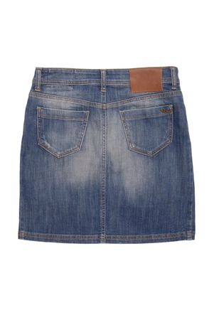 denim skirt: back side of denim skirt