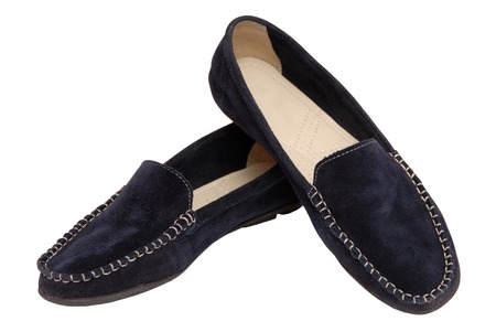 a pair of shammy moccasins Stock Photo