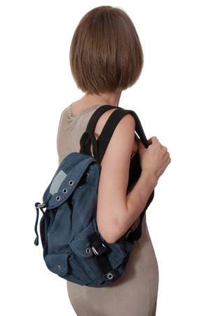 woman s bag: blue rucksack is on woman