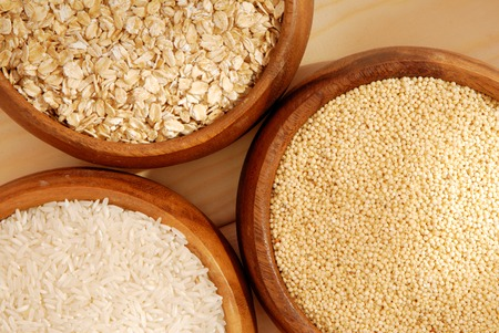 meagre: oatmeal, millet, rice  Stock Photo