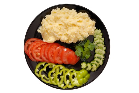 mashed potatoes and fresh vegetables photo