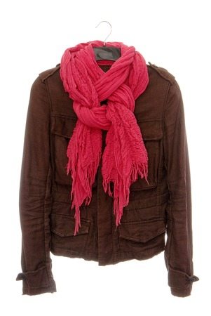 mackintosh: Brown jacket and pink scarf   Stock Photo