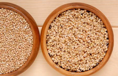 sprouted: sprouted kernel of buckwheat and  raw  cereals
