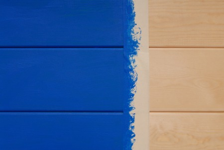 pine boards painted in blue color and sticky tape was used Banco de Imagens - 47791930