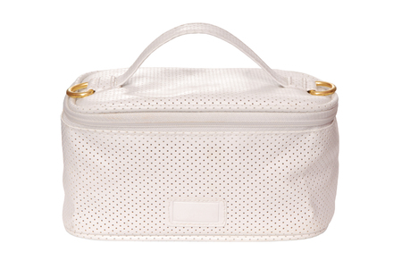 articles: white tiilet-bag with toilet articles