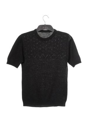 clotheshanger: black female jumper with short sleeves, sweater