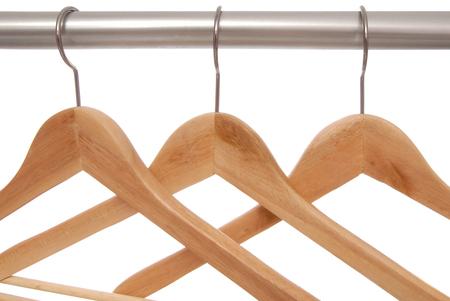 clotheshanger: Empty wooden hangers