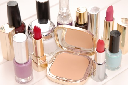 grease paint: cosmetics, lipsticks, varnish, cream are on dressing table