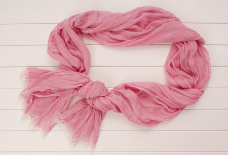 pink scarf tippet  is on show-case, it is silk and cotton