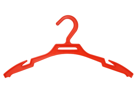 coathanger: isolated red clothes hanger is on white, coat-hanger