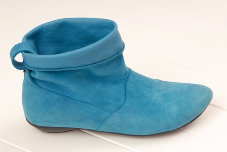 casual wear: turquoise chamois boot is on the showcase