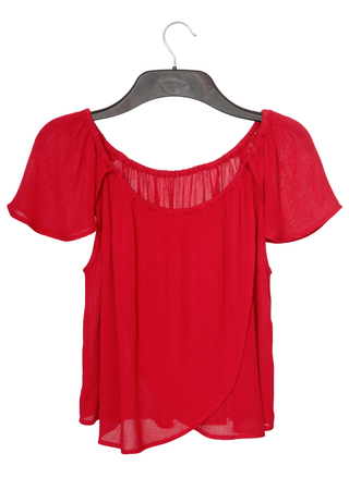 clotheshanger: romantic red blouse on clothes-hanger, isolated on white