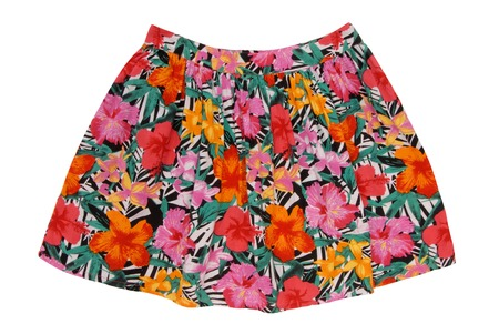 cotton multicoloured skirt has red, green, orange, pink colour