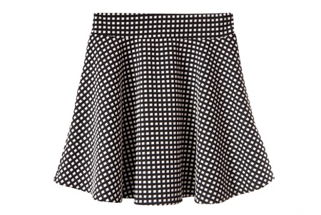 bell-bottoms black and white skirt, isolated Stock Photo