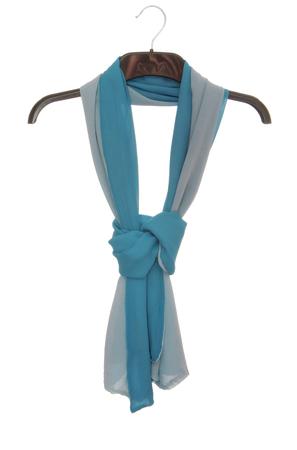 blue crepe de chine scarf