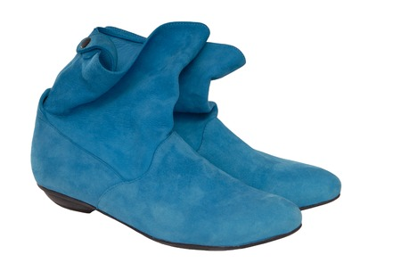 turquoise chamois boots Stock Photo