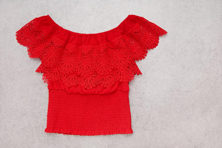 red blouse is in folk style, lacy, female, beautiful top