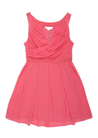 abito in chiffon rosa con perline, abiti da sera femminili