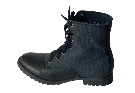leather shoe, dark blue shoes, unisex footwear,  youth boots has military style Stock Photo