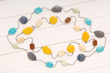 assortment of female accessories, fashionable  bijouterie,  beads,   necklace, textures backgrounds Stock Photo