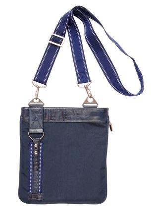 carrying the cross: blue bag crossbody, isolated on white, single object Stock Photo