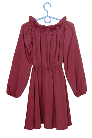 burgundy dress, claret blouse isolated on white,  long-sleeve gown has claret colour