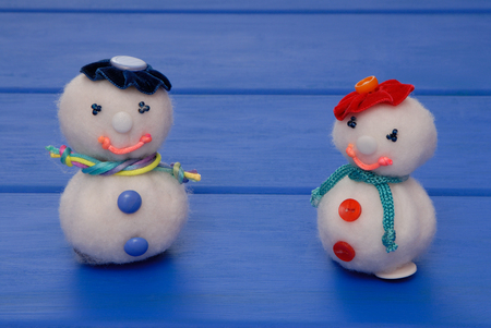snowmans on  New Years post card, snowmans on Christmas card, handmade snowmans,  syntepon New-Year tree decorations