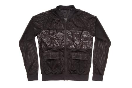 black sports jacket, unisex sweatshirt on white, isolated  varsity jacket, soccer jacket  Stock Photo