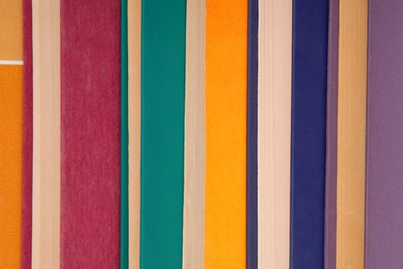 pile of multicoloured books, bunch of multicolored books, heap of books Stock Photo