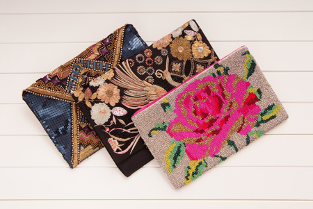 embroidered handbags, three handbags with embroidery, clutches of envelope shape