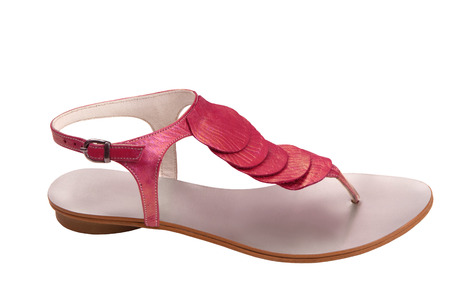 female sandals has pearly luster, pink flip-flops is on white background, isolated shoes has the purple colour,  summery sandals for a woman, a  leather sandal is as single object on white