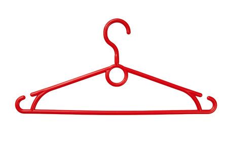 red coathanger is on white, coat hangers is as single object, red plastic coat-hanger