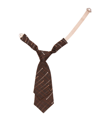 childrens necktie, brown necktie for a boy, isolated tie is on white background, a tie as a single object Stock Photo